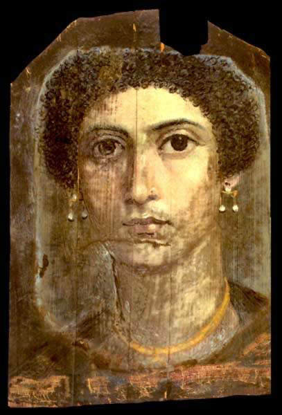 Encalistic Wax Painting on Wood of a Young Woman dating from the 1st Century AD and discovered at Fayoum