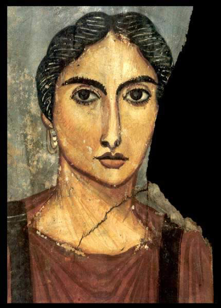 Tempera on Wood Painting on Wood of a Female Figure Dating to the 4th Century AD