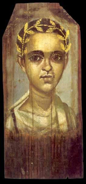 Encalistic Wax Painting on Wood of a Young Boy Dating from the 1st or 2nd Century AD