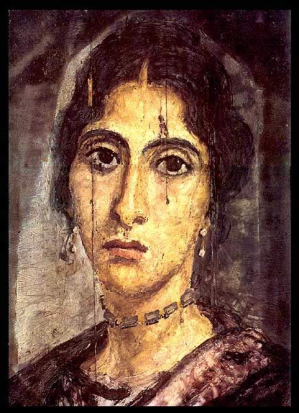 Encalistic Wax Painting on Wood of a Young Woman Dating from the 2nd Century AD Discovered at Hawara during the W.M.F. Petrie Excavations of 1888