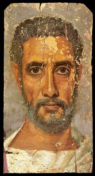 Encalistic Wax Painting on Wood of a Middle Aged Man Dating to the First Half of the 2nd century A.D.