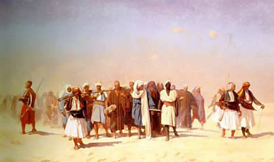 Egyptian recruits crossing the Desert and led by Albanian officers