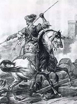 A drawing of a Mamluk soldier in battle