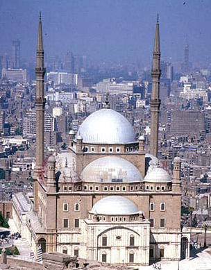 A general view of the facade, domes and minarets of the Muhammad Ali Mosque at the Citadel in Cairo, Egypt
