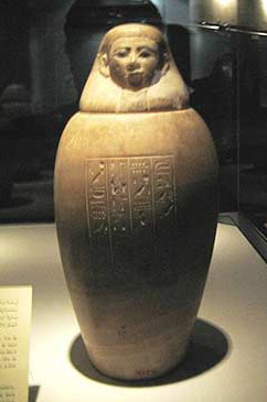 A canopic Jar within the Mummification Museum
