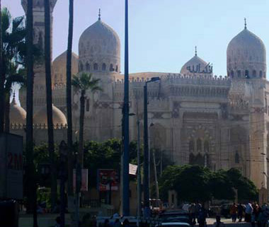 An overall view of the Abu El-Abbas el-Mursi Mosque in Alexandria, Egypt