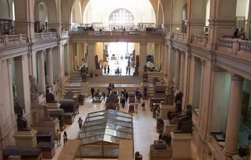 Inside the main Egyptian Antiquities Museum in Cairo, Egypt