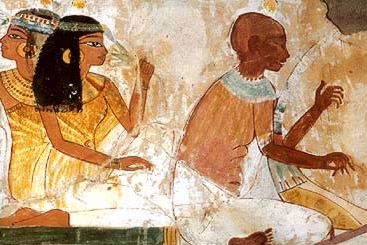 A harpest entertains in   ancient Egypt