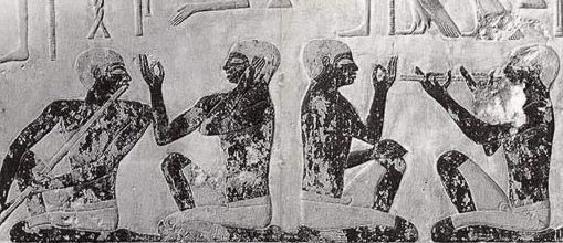 Scene showing a male on   the left playing a flue, and on the right a parallel double pipe