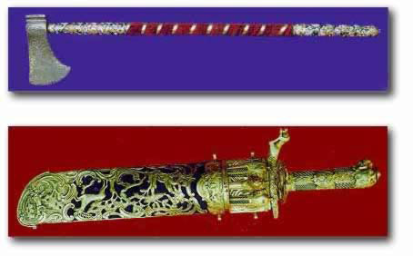 An enameled ax belonging to Sultan Selim Khan