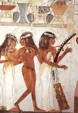 Painting of Servant Helping Ladies with Jewelry before the Funerary Banquet inside the Tomb of Nakht in Luxor, Egypt