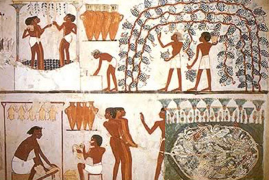 Nakht Tomb: Harvesting Grapes and Birds of the hunt