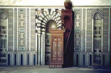 The Qibla wall of the Mosque of al-Nasir Muhammad, showing the niche (Mihrab) and pulpit (Minbar).