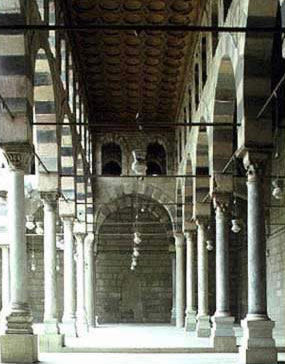 Looking down one of the arcades of the Mosque of al-Nasir Muhammad