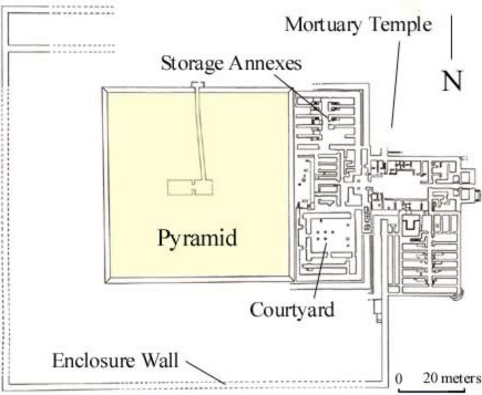 Ground plan of the unfinished pyramid of Neferefre at Abusir in Egypt