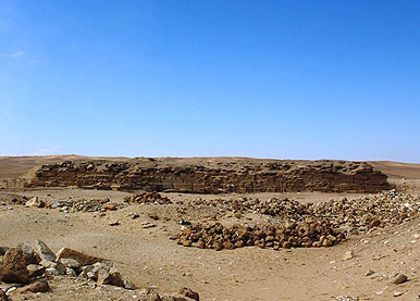 A view of the unfinished pyramid of Neferefre at Abusir in Egypt