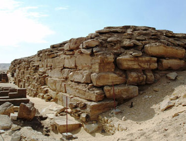 A closer view of one of the corners of the unfinished pyramid of Neferefre at Abusir