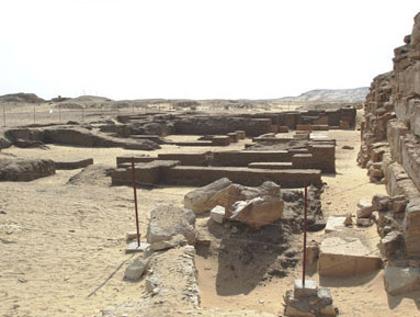 A view of the remains  of Neferefre's mortuary temple at ABusir
