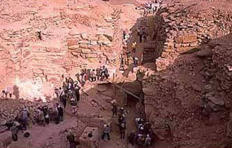 A view of the burial pit in the unfinished pyramid of Neferefre at Abusir in Egypt during its excavation