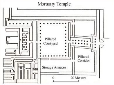 Plan of the mortuary temple at the Pyramid of Neferirkare at Abusir in Egypt