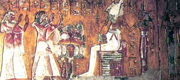 Neferrenpet and his wife before Osiris
