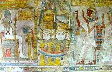 Neferrenpet and his wife in an offering scene before Ptah