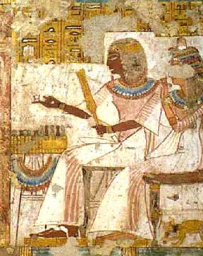Neferrenpet balances a playing piece on his finger as he plays senet