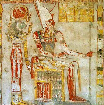 Atum, wearing the double crown, wiht Sekhmet behind him