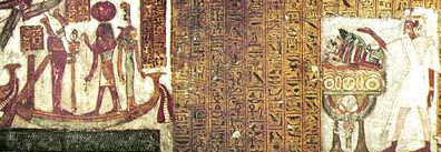 Neferrenpet before an offering table looks across text to Osiris, Ma'at and Re on a Barque