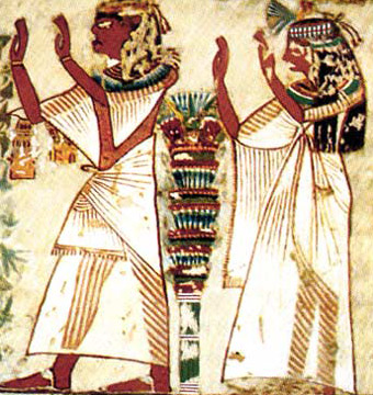 Nefersekheru and his wife in a posture of worship