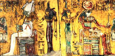 Horus and Osiris sit before offering tables