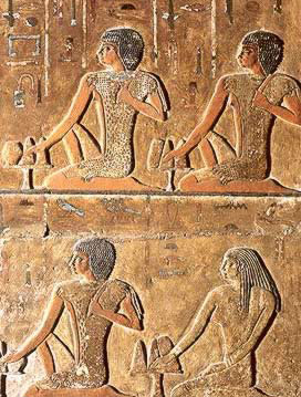 The top two and the bottom left hand figure whear leopard skin vestments and are perhaps sons of Nefer. All of the figures are described as inspectors of the singers