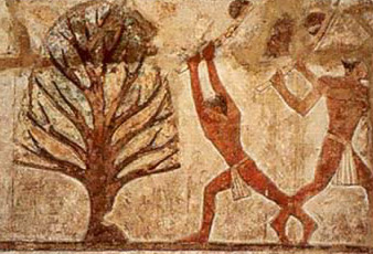 Carpenters cut down a tree to use for funerary equipment, as depicted in the tomb of Nefer