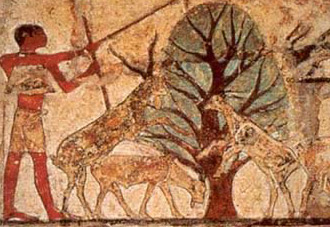 Shepherd tending goats around a tree in the tomb of Nefer