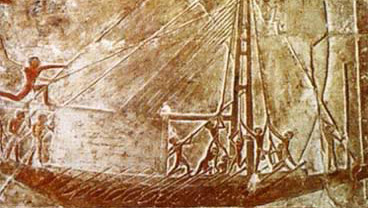 One of the large sailing ships in the tomb of Nefer