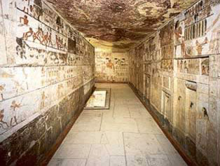 The large chapel in the tomb of Nefer at Saqqara in Egypt