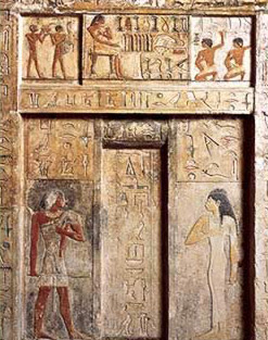 An example of one of the false doors in the tomb of Nefer