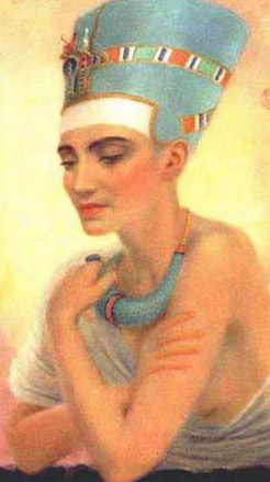 Nefertiti, a painting by Winifred Brunton, considered to be one of the most beautiful queens of ancient Egypt