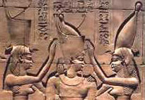 Uatchet, Wearing the Red Crown and Nekhbet Wearing the White Crown, Blessing the Pharaoh