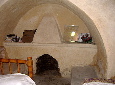 A fireplace in the sleeping quarters of one of the houses at New Gourna