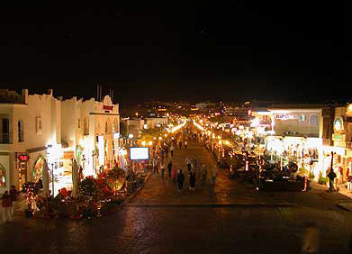 One of the main streets in Sharm, with many shops