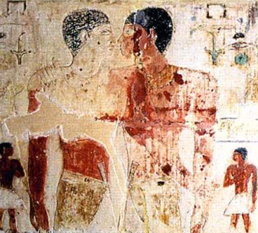 Niankhkhnum and Khnumhotep in an intimate embrace