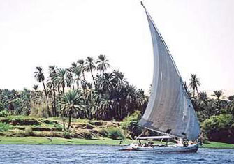 A typical Felucca on the Nile