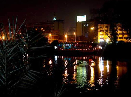 Photograph from Zamalek of the Nile at night