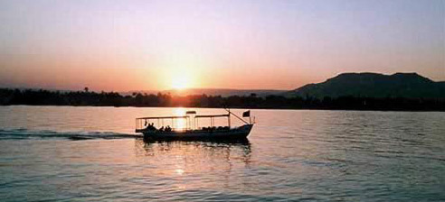 Nile Boat at Sunset