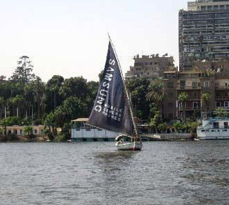 A Felucca sails by