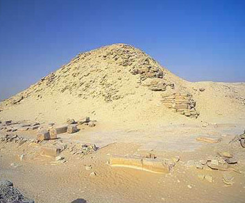 A view of the Pyramid of Niuserre at Abusir in Egypt