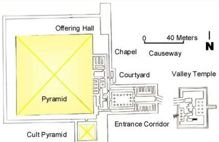 Ground plan of the Pyramid of Niuserre at Abusir in Egypt