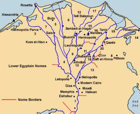 Tanis Egypt Map.The Nomes Proviences Of Ancient Egypt