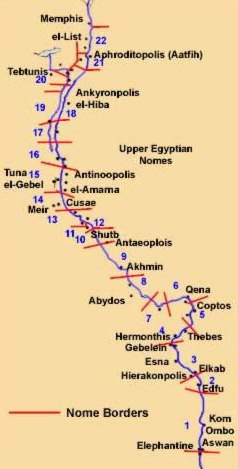 Nomes Proviences Of Ancient Egypt - Map of egypt upper and lower